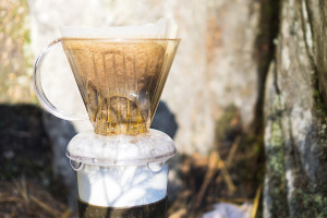 Clever Coffee Dripper brewing outside